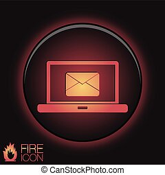 laptop with letter envelope, mail icon