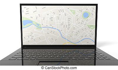 Laptop with map isolated on white background