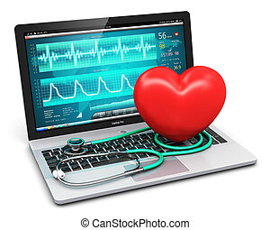 Laptop with medical diagnostic software, stethoscope and red...