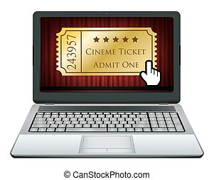 laptop with movies ticket on screen