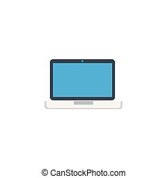 laptop with music flat style icon