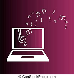 laptop with music notes color background