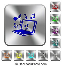 Laptop with music symbols rounded square steel buttons
