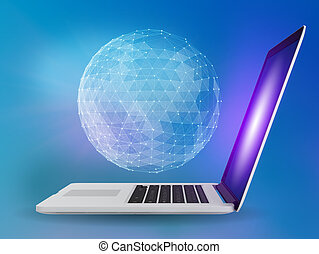 Laptop with network globe on blue background