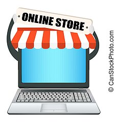 laptop with online store banner