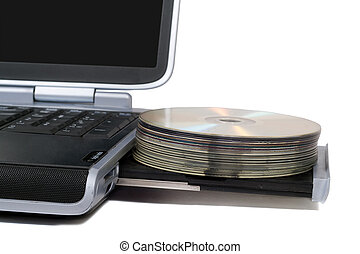Laptop with overloaded DVD Drive. Isolated on white background