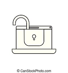 laptop with padlocked icon