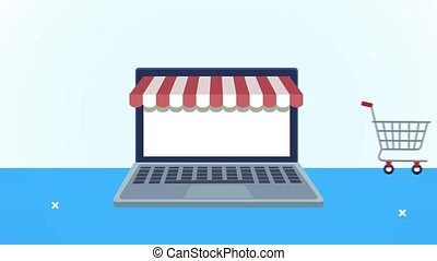 laptop with parasol ecommerce technology ,4k video animated
