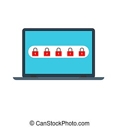 Laptop with password notification and lock icon vector illustration