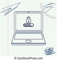 Laptop with password notification and lock line sketch icon isolated on white background. Concept of security, personal access, user authorization, login form. Vector Illustration