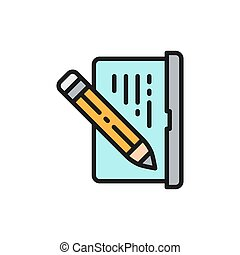 Laptop with pen, write review, email notebook, chat flat color line icon.
