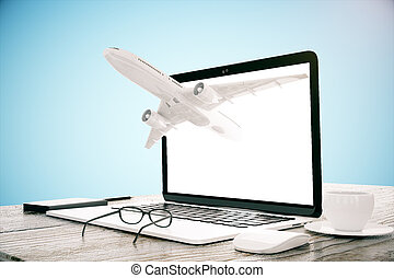 Laptop with plane