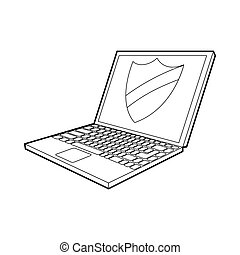 Laptop with protection shield icon, outline style