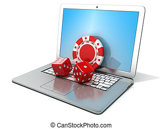 Laptop with red dice and chip. 3D