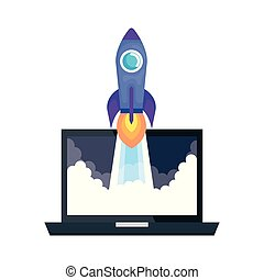 laptop with rocket launcher vector illustration design