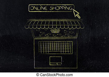 Laptop with shop awnings and shopping cart with rebate price