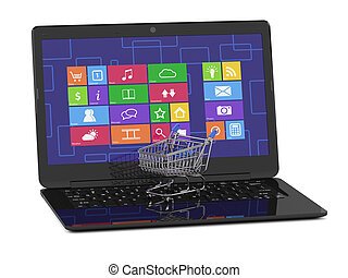 Laptop with shopping cart