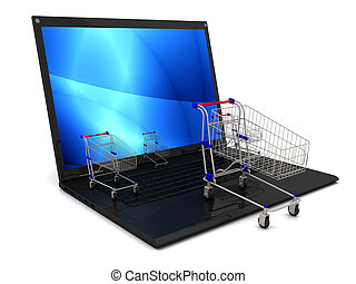 Laptop with shopping cart isolated on white background