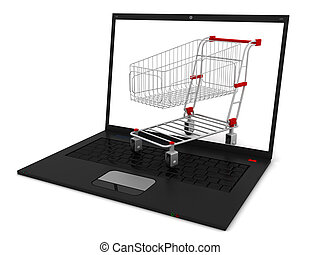Laptop with shopping cart isolated on white background.