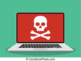 Laptop with skull on the screen.