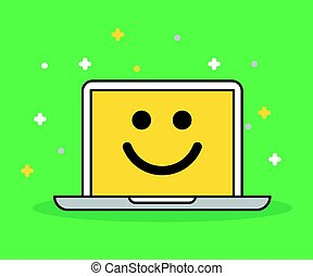 Laptop with smile Icon illustration. Modern flat design.