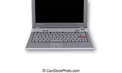 Laptop with SOS key flashing - Laptop with SOS key - White...
