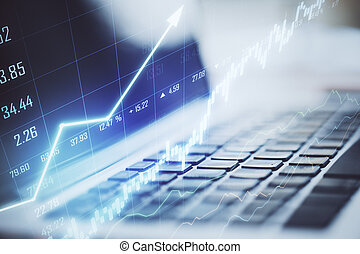 Laptop with stock chart
