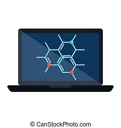 laptop with structure molecular