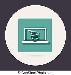 laptop with symbol shopping cart