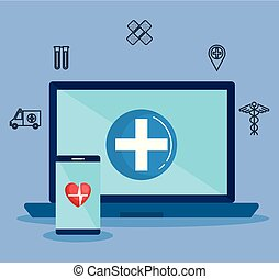 laptop with telemedicine icons