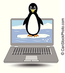 Laptop with the penguin coming out of the display, cute label for computer operating system
