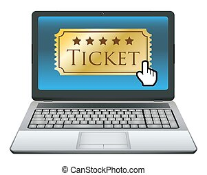 laptop with ticket on screen