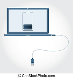 Laptop with USB cable