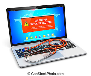 Laptop with virus attack warning message on screen and stethoscope