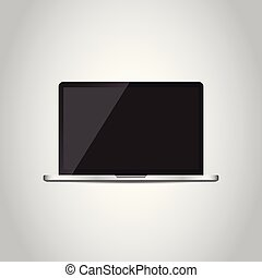 Laptop with white screen flat icon. Computer vector illustration on grey background.