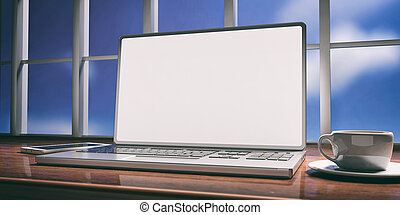 Laptop with white screen on a wooden desk. Blurred sky background. 3d illustration