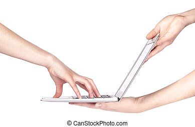 laptop with woman hand isolated