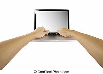 laptop with woman hand isolated on