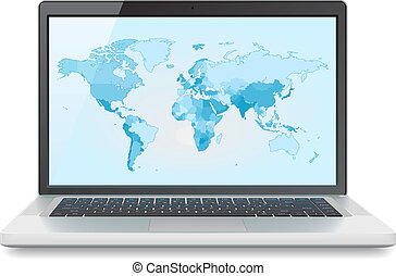 Laptop with World map