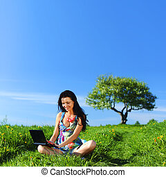 laptop work in field