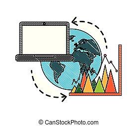 laptop world business statistic graph sharing data
