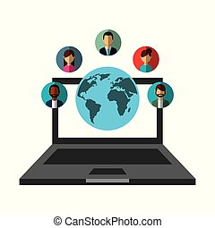 laptop world people communication social media network