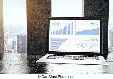 laptop, wykresy, handlowy