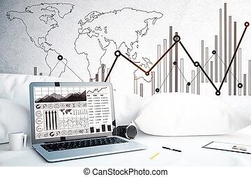 laptop, z, handlowy, wykresy