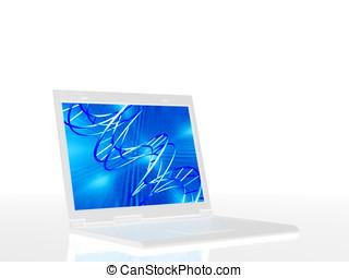 laptop, z, obrzynek ścieżka
