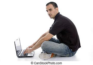laptop, zajęty, samiec