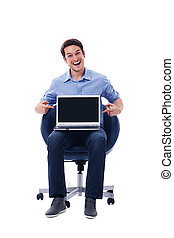 laptop, zdziwiony, spoinowanie, człowiek