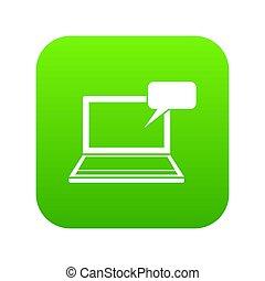 laptop, zielony, cyfrowy, bańka mowy, ikona