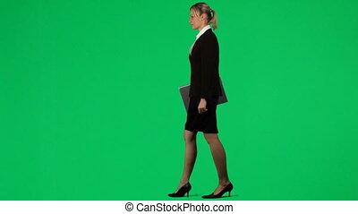 laptop, zielony, ekran, pracujący, kobieta interesu, przeciw