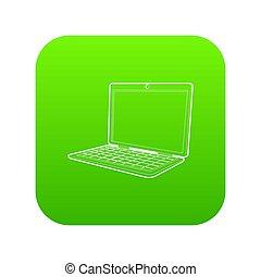 laptop, zielony, ikona